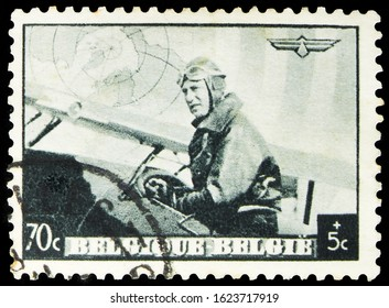 MOSCOW, RUSSIA - OCTOBER 7, 2019: Postage stamp printed in Belgium shows European Airmail Conference - Gray, serie, circa 1938