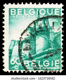 MOSCOW, RUSSIA - OCTOBER 7, 2019: Postage stamp printed in Belgium shows Export promotion - Chemical Industry, Export Promotion serie, circa 1948
