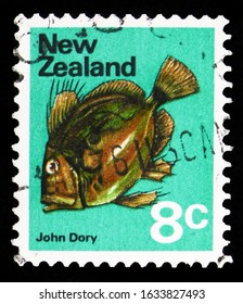 MOSCOW, RUSSIA - OCTOBER 7, 2019: Postage stamp printed in New Zealand shows John Dory (Zeus faber), Definitive serie, 8 c - New Zealand cent, circa 1974