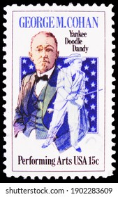"""MOSCOW, RUSSIA - OCTOBER 8, 2020: Postage stamp printed in United States shows George M. Cohan, """"Yankee Doodle Dandy"""" and Stars, Performing Arts Series serie, circa 1978"""