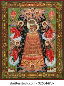 """MOSCOW, RUSSIA - October 9, 2015: orthodox icon of the Virgin """"Mind addition"""", a prototype were drawn in the XVII century by the mad artist and recovered"""