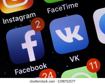 Moscow, Russia - October, 9 2018  The apps of social media networks Facebook and Vkontakte are displayed on a smartphone