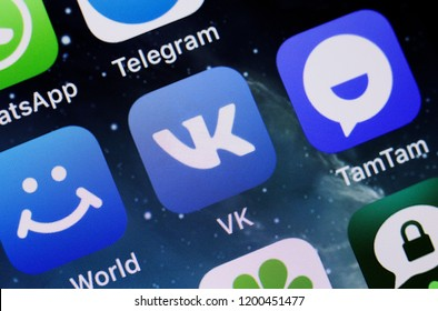 Moscow, Russia - October, 9 2018 The logos of the My World, VK and TamTam applications are displayed on the screen of an Apple iPhone