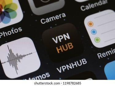 Moscow, Russia - October, 9: The VPNhub applications is seen on an iPhone.  The New Free VPN From Pornhub