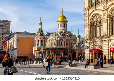 MOSCOW, RUSSIA, on April 4, 2019. Cathedral of Our Lady of Kazan at the corner of Red Square and Nikolskaya Street