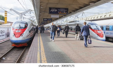 MOSCOW, RUSSIA, on AUGUST 19, 2015. Leningrad station. The modern high-speed train Sapsan near a platform expects departure to St. Petersburg