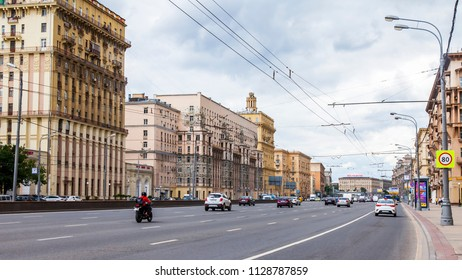 Moscow, Russia, on July 3, 2018. Urban view. Cars go on Kutuzovsky Avenue