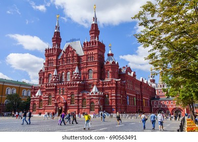 MOSCOW, RUSSIA, on July 31, 2017. People go near the building of the Historical museum (is constructed in 1875 - 1881 in forms of the Russian architecture of the 16th century) at Red Square.
