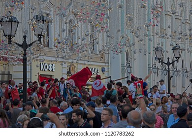 Moscow, Russia, - on June 22, 2018 / Fans of the FIFA World Cup in the center of Moscow