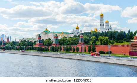 Moscow, Russia, on June 25, 2018. View of the river Moscow. Kremlevskaya Embankment and towers of the Moscow Kremlin.