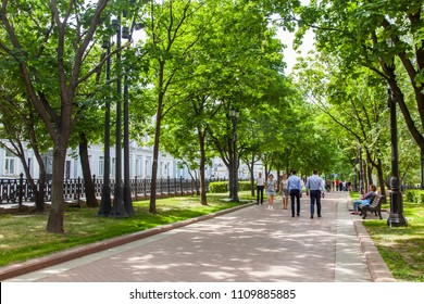 MOSCOW, RUSSIA, on June 4, 2018. People go along Rozhdestvensky Boulevard. Sunny summer day