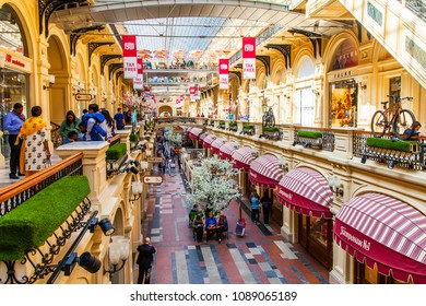 MOSCOW, RUSSIA, on MAY 10, 2018. Trade gallery of historical shop GUM which is a monument of architecture and one of city characters