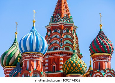 MOSCOW, RUSSIA, on MAY 10, 2018. Domes of St. Basil's Cathedral (Pokrovsky Cathedral) is one of city symbols. Architectural fragment