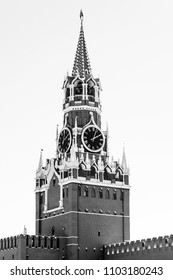 MOSCOW, RUSSIA, on MAY 10, 2018. A fragment of Spasskaya Tower of the Moscow Kremlin at Red Square.