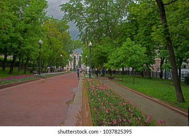 """Moscow, Russia, - on May 5, 2016 / On Street """"Tsvetnoy Boulevard"""" after a rain."""