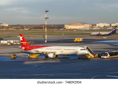 MOSCOW, RUSSIA, on October 26, 2017. Planes undergo preflight service in the international airport Sheremetyevo