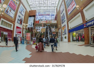 MOSCOW, RUSSIA, on SEPTEMBER 17, 2015. The central lobby in a mall Gold Babylon on Mira Avenue, fisheye view