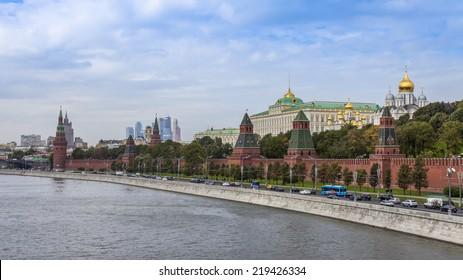Moscow, Russia, on September, 23, 2014. View of the Kremlin and Kremlevskaya Embankment of the Moskva River from Bolshoy Moskvoretsky Bridge