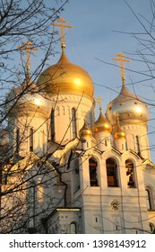 Moscow Russia Orthodox church in the subset. Golden dones big and small reflecting the afternoon sun. White walls looking bright reflecting the sun. Crosses on domes. Blue sky. Trees with no leaves