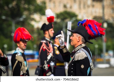 Moscow, Russia, Poklonnaya Hill, August 27, 2017 - The Carabinieri band (Rome). Chief conductor Massimo Martinelli, Victory Park, International Music Festival of Military Orchestras Spasskaya Tower.