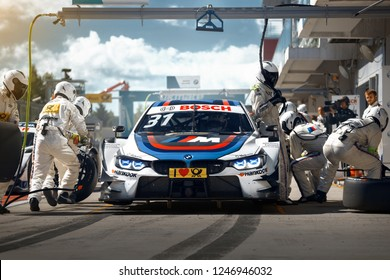 Moscow, Russia, Moscow Raceway - AUG 8, 2017: DTM 2017 Moscow stage BMW M4 DTM Tom Blomqvist Team RBM on the pit stop