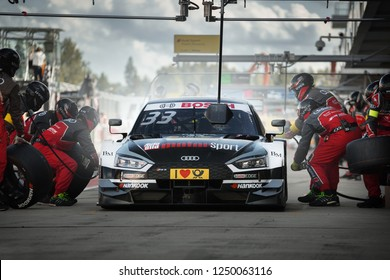 Moscow, Russia, Moscow Raceway - AUG 8, 2017: DTM 2017 Moscow stage Audi RS5 DTM Rene Rast on the pit stop