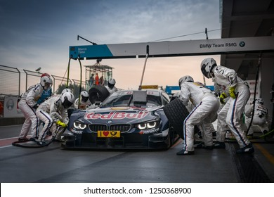 Moscow, Russia, Moscow Raceway - AUG 8, 2017: DTM 2017 Moscow stage BMW M4 DTM Red Bull Marco Wittmann on the pit stop