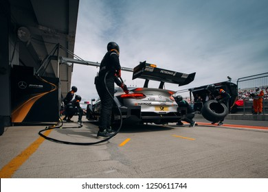 Moscow, Russia, Moscow Raceway - AUG 8, 2017: DTM 2017 Moscow stage Mercedes-AMG C 63 DTM Maro Engel on the pit stop