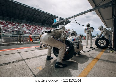 Moscow, Russia, Moscow Raceway - AUG 8, 2017: DTM 2017 Moscow stage Mechanics prepare for tire change at the pit stop