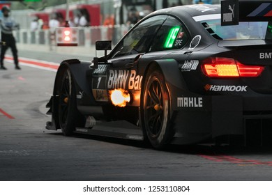 Moscow, Russia, Moscow Raceway - AUG 8, 2017: DTM 2017 Moscow stage BMW M4 DTM Bruno Spengler TEAM RBM at the pitlane with fire flame