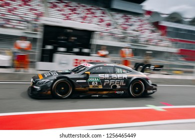Moscow, Russia, Moscow Raceway - AUG 8, 2017: DTM 2017 Moscow stage Mercedes Benz C-Class C63 AMG Maro Engel at the pitlane
