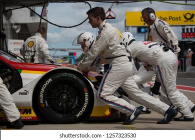 Moscow, Russia, Moscow Raceway - AUG 8, 2017: DTM 2017 Moscow stage BMW M4 DTM Augusto Farfus at team boxes