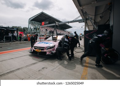 Moscow, Russia, Moscow Raceway - AUG 8, 2017: DTM 2017 Moscow stage Mercedes Benz AMG DTM Lucas Auer BTW on the pit stop