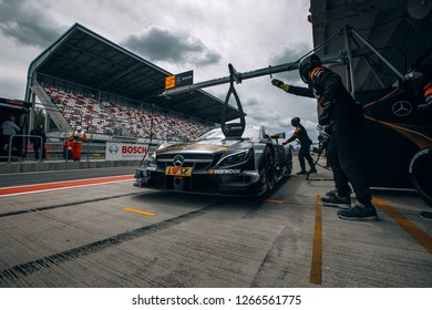 Moscow, Russia, Moscow Raceway - AUG 8, 2017: DTM 2017 Moscow stage Mercedes Benz DTM AMG on the pit stop