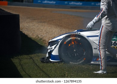 Moscow, Russia, Moscow Raceway - AUG 8, 2017: DTM 2017 Moscow stage, accident with BMW M4 DTM of Maxime Martin. Racecar is burning