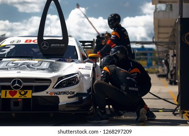 Moscow, Russia, Moscow Raceway - AUG 8, 2017: DTM 2017 Moscow stage Mercedes Benz DTM AMG Paul di Resta on the pit stop