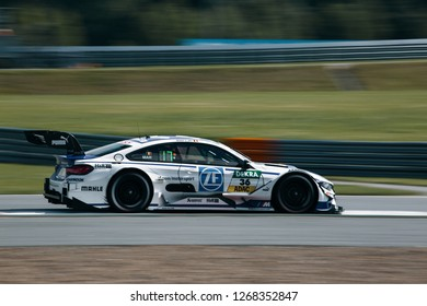Moscow, Russia, Moscow Raceway - AUG 8, 2017: DTM 2017 Moscow stage BMW M4 DTM and Maxime Martin go fast