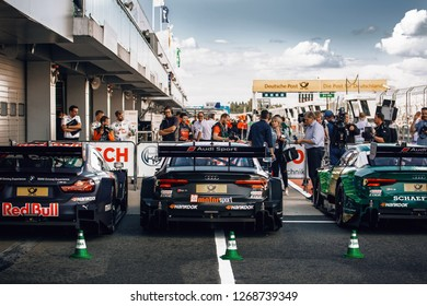 Moscow, Russia, Moscow Raceway - AUG 8, 2017: DTM 2017 Moscow stage BMW M4 and Audi RS5 at the race finish podium