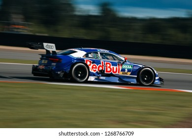 Moscow, Russia, Moscow Raceway - AUG 8, 2017: DTM 2017 Moscow stage Audi RS5 DTM Mattias Ekstrom Red Bull rides fast