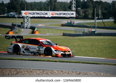 Moscow, Russia, Moscow Raceway - AUG 8, 2017: DTM 2017 Moscow stage Augusto Farfus BMW M4 DTM rides fast with sparks