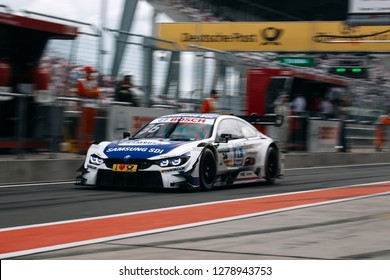 Moscow, Russia, Moscow Raceway - AUG 8, 2017: DTM 2017 Moscow stage Maxime Martin BMW M4 DTM ride on the pit lane