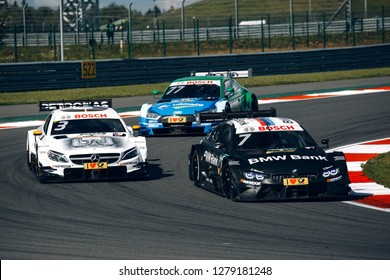 Moscow, Russia, Moscow Raceway - AUG 8, 2017: DTM 2017 Moscow stage DTM race cars peletone