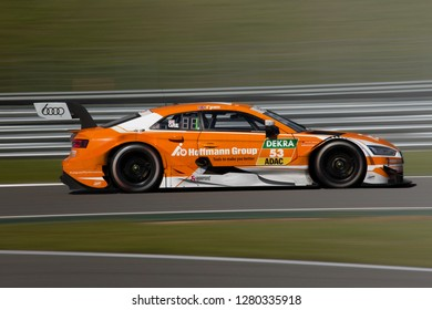 Moscow, Russia, Moscow Raceway - AUG 8, 2017: DTM 2017 Moscow stage Jamie Green Audi RS5 DTM Team Rosberg ride fast