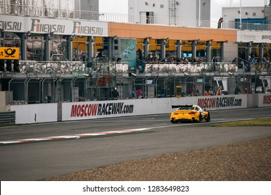 Moscow, Russia, Moscow Raceway - AUG 8, 2017: DTM 2017 Moscow stage BMW M4 DTM Timo Glock drive in front of tribune