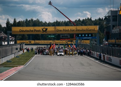 Moscow, Russia, Moscow Raceway - AUG 8, 2017: DTM 2017 Moscow stage prepare for mass start