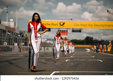Moscow, Russia, Moscow Raceway - AUG 8, 2017: DTM 2017 Moscow stage Midget grid girls on the starting line