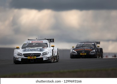 Moscow, Russia, Moscow Raceway - AUG 8, 2017: DTM 2017 Moscow stage Mercedes Benz AMG DTM overtake