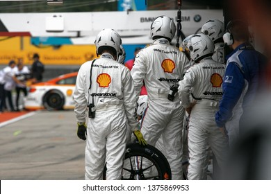 Moscow, Russia, Moscow Raceway - AUG 8, 2017: DTM 2017 Moscow stage a groupe of mechanics is waiting after race car