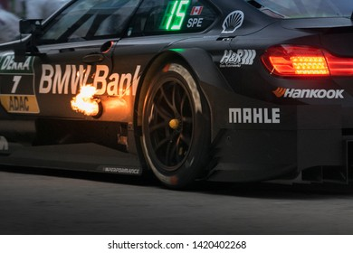 Moscow, Russia, Moscow Raceway - AUG 8, 2017: DTM 2017 Moscow stage BMW M4 DTM engine exhaust with a fire flame