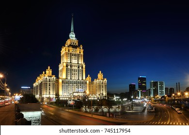 MOSCOW, RUSSIA - Radisson Royal Hotel (former hotel Ukraine) from Novoarbatsky Bridge at Night. It is one of seven Stalin legendary high-rises built in the middle of 20th century in Moscow.